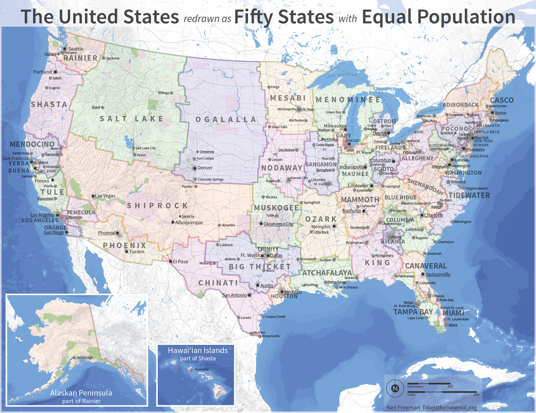 Remapping the US so each state has an equal population